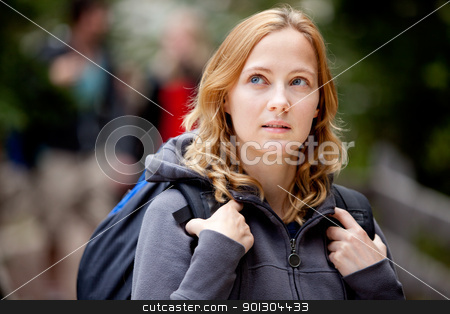 Lost Forest Woman stock photo, A woman lost while hiking in the forest by Tyler Olson