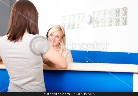 Dentist Reception stock photo, A woman arriving at the dentist office by Tyler Olson