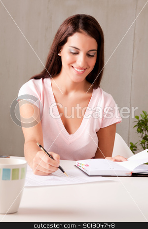 Business Plan stock photo, A woman making business plans sitting at a desk by Tyler Olson