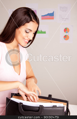 Business Presentation stock photo, A pretty business woman preparing for a presentation by Tyler Olson