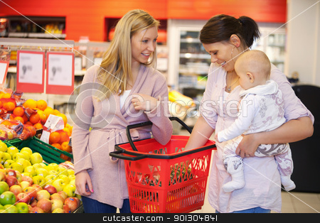 Mother carrying child with friend while shopping stock photo, Mother carrying child with friend while shopping in supermarket by Tyler Olson