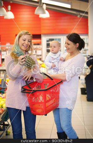 Mother Shopping with Friend stock photo, Mother and child with friend smiling while shopping in supermarket by Tyler Olson