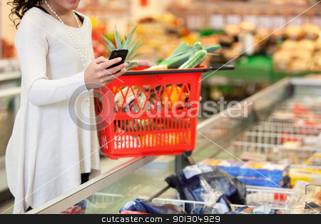 Woman using mobile phone in store stock photo, Woman with red basket using mobile phone in shopping store by Tyler Olson