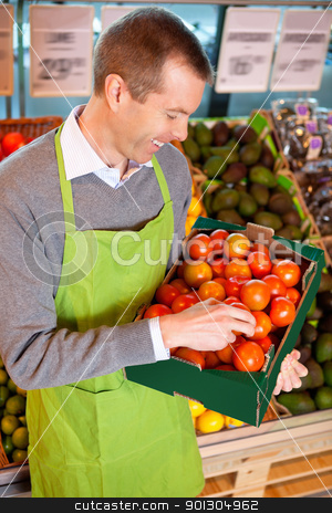 Happy market assistant holding box of tomatoes stock photo, Happy market assistant holding box of tomatoes in the supermarket by Tyler Olson