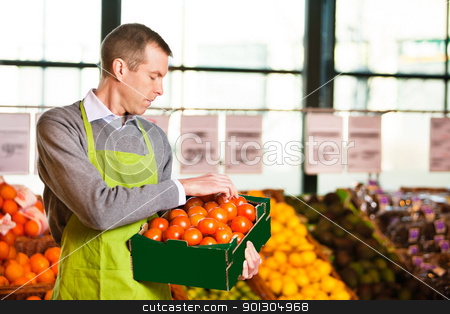 Market assistant holding box of tomatoes stock photo, Market assistant wearing apron with holding box of tomatoes in the supermarket by Tyler Olson