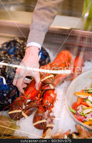 Seafood Lobster stock photo, A freshly cooked lobster in a grocery store seafood display by Tyler Olson