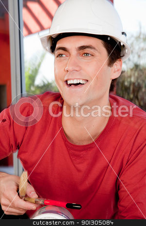 Man with White Hard Hat stock photo, Portrait of a happy smiling man wearing a white hard hat by Tyler Olson