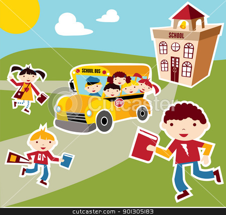 Back to School concept background stock photo, Back to school concept illustration background. Bus, children and school facade composition. by Cienpies Design