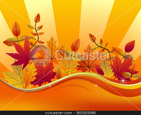 Fall season background stock photo, Autumn leaves on a yellow background. Vector available by Cienpies Design