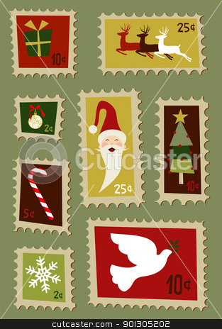 Christmas postage stamps set  stock photo, Christmas symbols and design elements postage stamps  by Cienpies Design