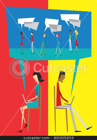 Social people balloon interaction stock photo, Social community people interaction with speech balloon concept by Cienpies Design