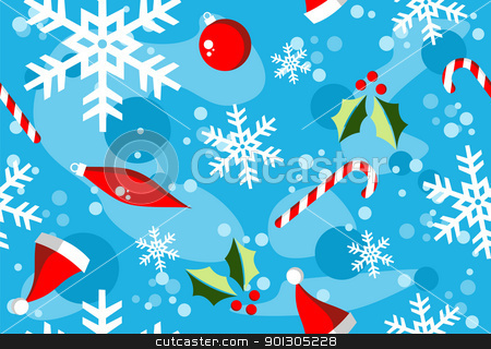 Christmas winter style elements background stock photo, Christmas season illustration with snow, balls and candy over cyan background. by Cienpies Design