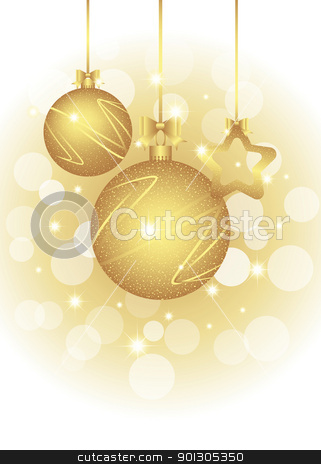 Christmas greeting card stock vector clipart, Christmas greeting card on sparkling golden color background by meikis