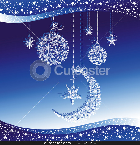 Christmas greeting card stock vector clipart, Merry Christmas greeting card on blue background by meikis