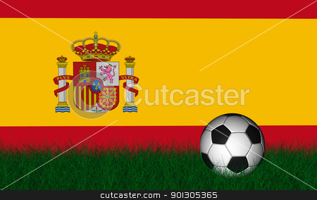 Soccer ball over green grass stock photo, Soccer ball render over green grass and flag of spain by marphotography