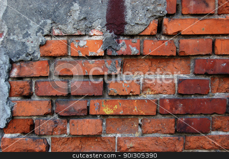 Old brick wall stock photo, Old dirty brick wall.