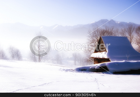 Glamour winter scene stock photo, Winter scene in mountains. Old house and snow by johnnychaos