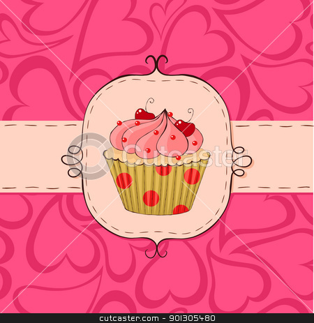 Pinky stock vector clipart, Pink card with cupcake. Seamless hearts pattern in the background. by wingedcats