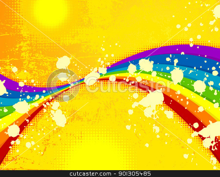 Summer stock vector clipart, Summer grunge background with rainbow.   by wingedcats