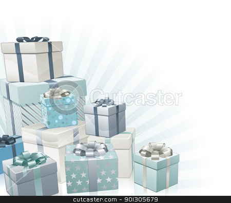 Christmas gifts corner element stock vector clipart, Christmas gifts silver blue corner background element. by Christos Georghiou