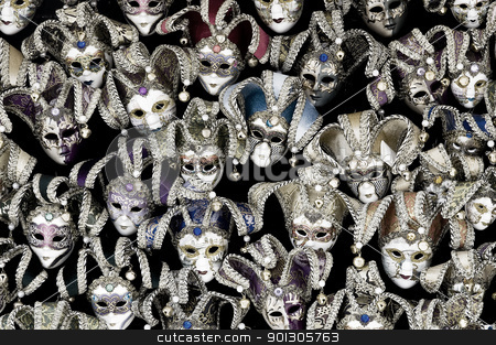 A lot of venetian carnival masks stock photo, Big amount of traditional venetian carnival masks. Venice, Italy. by johnnychaos