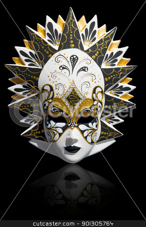 Venetian carnival mask isolated stock photo, Gold traditional venetian carnival mask isolated on black. Venice, Italy. by johnnychaos
