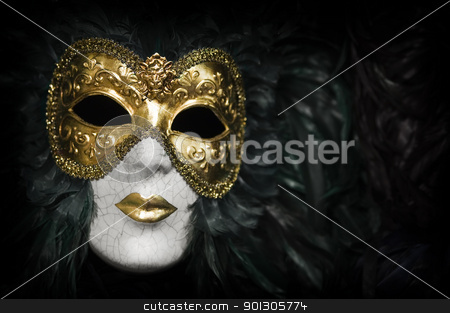 Venetian carnival mask stock photo, Gold traditional venetian carnival mask. Venice, Italy. by johnnychaos