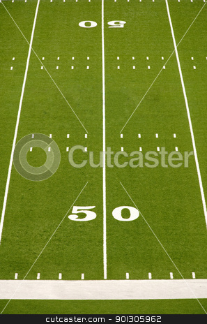 Empty American Football Field stock photo, Empty American football field showing 50 yard line. by Danny Hooks