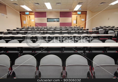 Empty hall for presentation with grey armchairs  stock photo, Empty hall for presentation with grey armchairs  by Keng po Leung