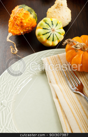 Autumn Table Setting stock photo, Colorful Autumn place setting with Fall Harvest gourds and pumpkin with copy space by Karen Sarraga