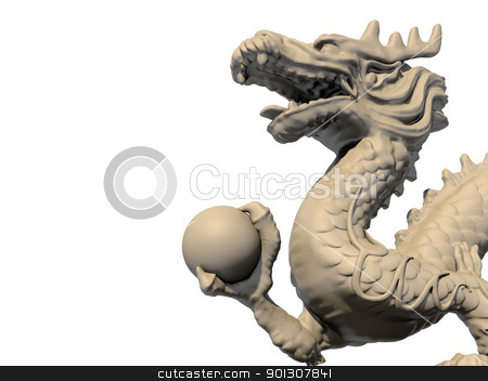 White Chinese dragon statue holding a ball in his claws stock photo, White Chinese dragon statue holding a ball in his claws, isolated against a white background. Close-up view 3D image. by Patrick Guenette