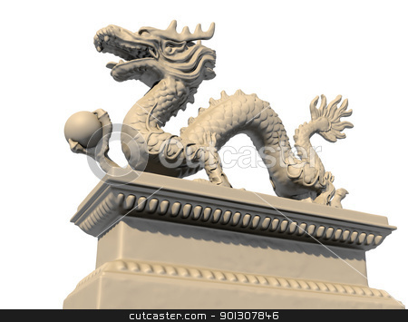 White Chinese dragon statue holding a ball in his claws, bottom  stock photo, White Chinese dragon statue holding a ball in his claws, isolated against a white background. Bottom view 3D image. by Patrick Guenette