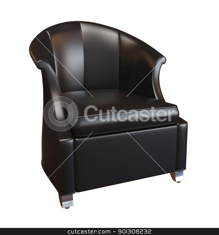 Black leather armchair stock photo 3d photorealistic image of a black