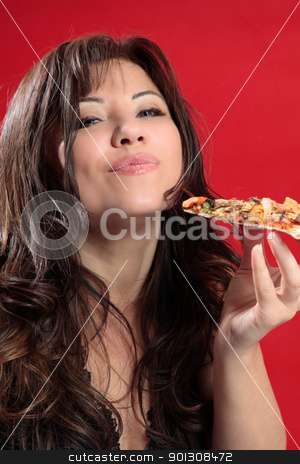 Mmmm woman enjoying pizza stock photo, A woman with dark brown hair is enjoying delicious slice of italian pizza. by Leah-Anne Thompson