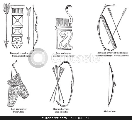 Ancient Egypt, Greek, Chinese, Indian, Amerindian and African bo stock vector clipart, Ancient Egypt, Greek, Chinese, Indian, Amerindian and African bow, arrows and quiver old engraving, Engraved illustration of bow and arrows weapon used in ancient time. by Patrick Guenette