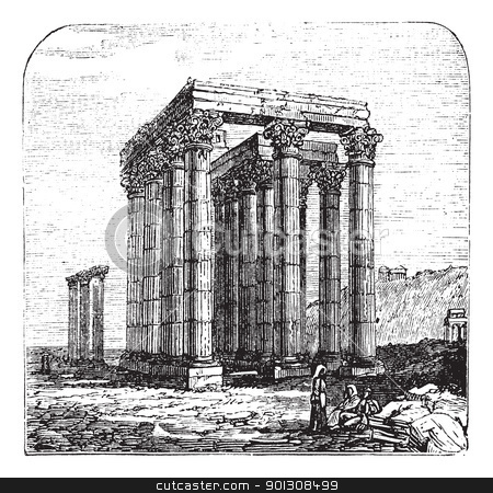 The Temple of Olympian Zeus or  Columns of the Olympian Zeus, Gr stock vector clipart, The Temple of Olympian Zeus, Olympieion or Columns of the Olympian Zeus, Greek, Athens. Vintage engraving. Old engraved illustration of The Temple of Olympian Zeus. A colossal ruined temple in the centre of the capital of Athens, Greece. by Patrick Guenette