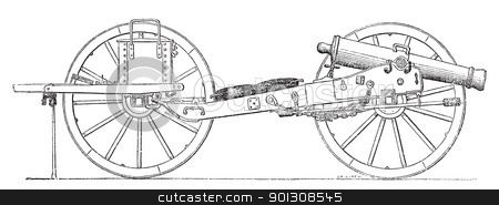 Field gun vintage engraving. stock vector clipart, Field gun vintage engraving. Old engraved illustration of a field gun. by Patrick Guenette