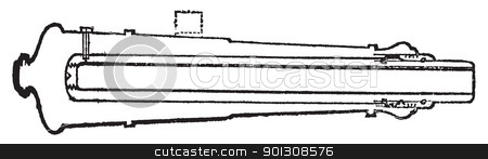 Palliser shot or Palliser gun old engraving. stock vector clipart, Palliser shot or Palliser gun old engraving. Old engraved illustration of a close-up of a Palliser gun section. by Patrick Guenette