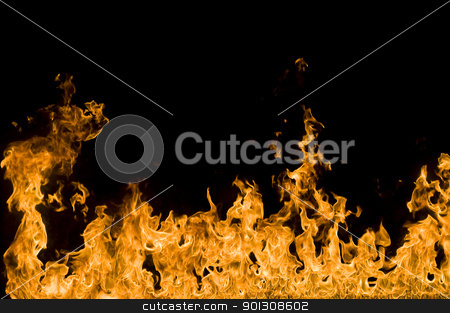 Fire stock photo, Border made of fire flames. by johnnychaos
