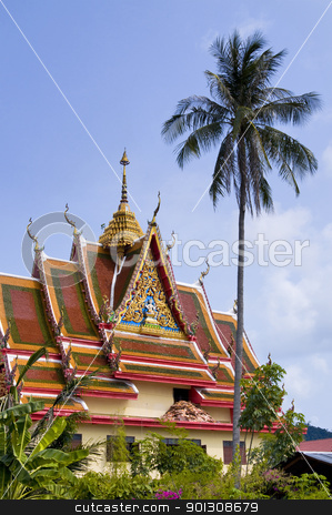 Buddhist temple, Thailand stock photo, Buddhist temple ko Samui, Thailand by johnnychaos