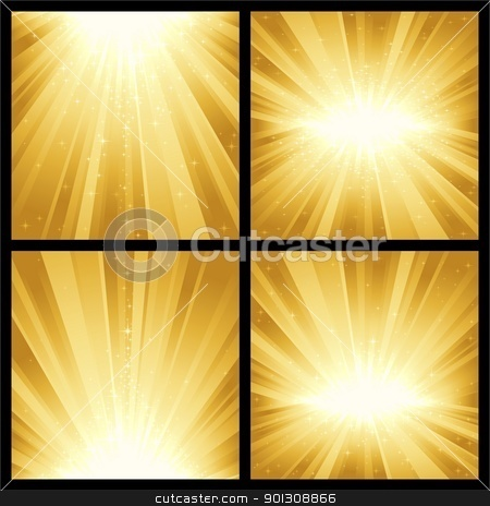 Festive explosion of light and stars stock vector clipart, 4 different golden light bursts with magic stars. Great for festive themes, like Christmas or New Years. by Ina Wendrock