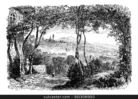 Bergamo, in Lombardi, Italy, vintage engraving stock vector clipart, Bergamo, in Lombardi, Italy, during the 1890s, vintage engraving. Old engraved illustration of Bergamo. by Patrick Guenette