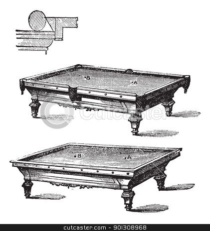 Billiard table and Carom billiards, tables, vintage engraving. stock vector clipart, Billiard table and Carom billiards, tables, vintage engraved illustration of Billiard table and Carom billiards, tables, isolated on a white background. by Patrick Guenette