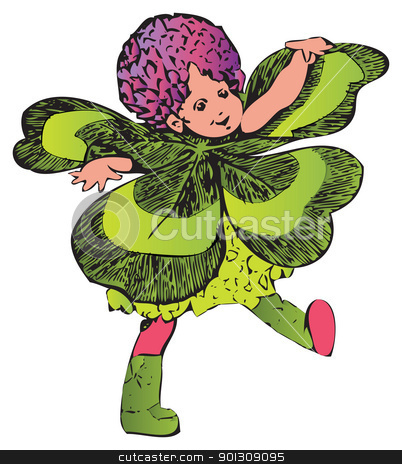 Four-leafed clover or Trifolium flower-child stock vector clipart, Clover or Trifolium child-flower. Painted off The Flower Children: The Little Cousins of the Field and Garden book, from Elizabeth Gordon. M. T. Ross is the artist. by Patrick Guenette