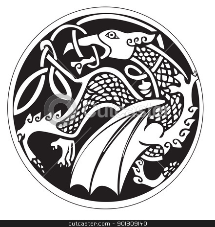 A druidic astronomical symbol of a dragon stock vector clipart, A druidic astronomical symbol of a dragon, in a circle pattern artwork, isolated against a white background by Patrick Guenette