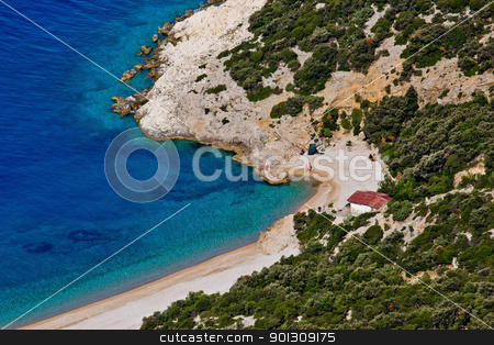 Beach Lubenice aerial stock photo, Fine beach in Lubenice, Cres, Croatia by xbrchx