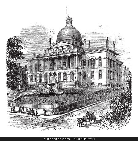 State House or Massachusetts State House or The New State House, stock vector clipart, State House or Massachusetts State House or The New State House, Beacon Hill, Boston, Massachusetts, USA vintage engraving.  Old engraved illustration of building exterior by Patrick Guenette