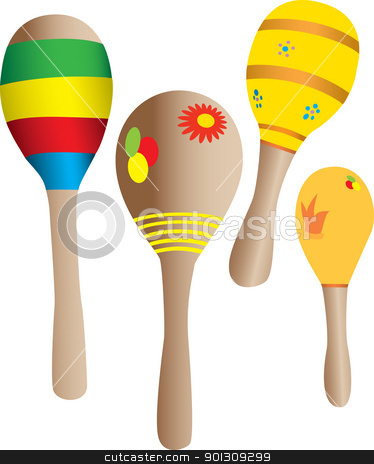Four wood maracas stock vector clipart, Four Maracas vector illustration isolated on white by Patrick Guenette