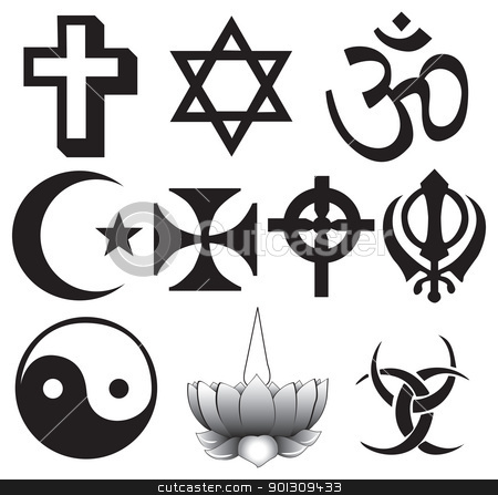 Different religions symbols stock vector clipart, Different religions symbols - ten different symbols fully scalable by Patrick Guenette