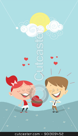 Gift Girl Gift on Valentine S Heart Gift  Girl Giving A Gift To A Boy Stock Vector